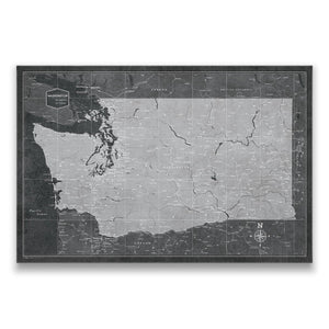 Modern Slate Washington state map pin board with pushpins