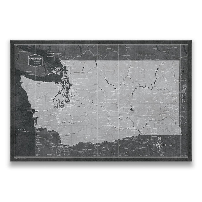 Washington Travel Map Pin Board w/Push Pins - Modern Slate