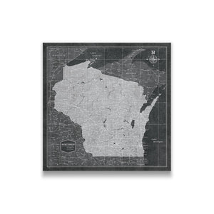 Modern Slate Wisconsin state map pin board with pushpins