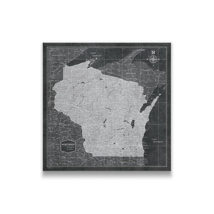 Wisconsin Travel Map Pin Board w/Push Pins - Modern Slate