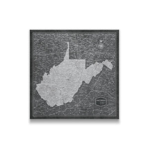 Modern Slate West Virginia state map pin board with pushpins