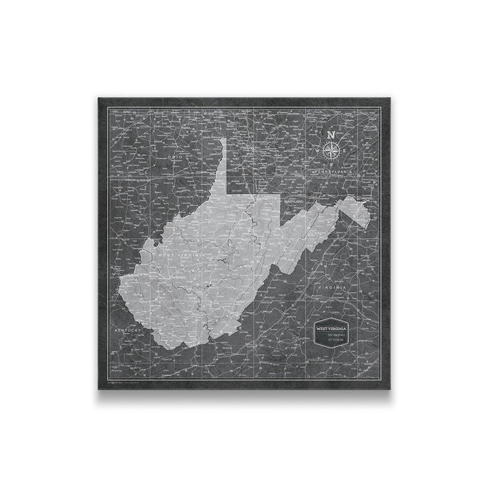 West Virginia Travel Map Pin Board w/Push Pins - Modern Slate