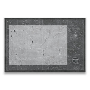Modern Slate Wyoming state map pin board with pushpins
