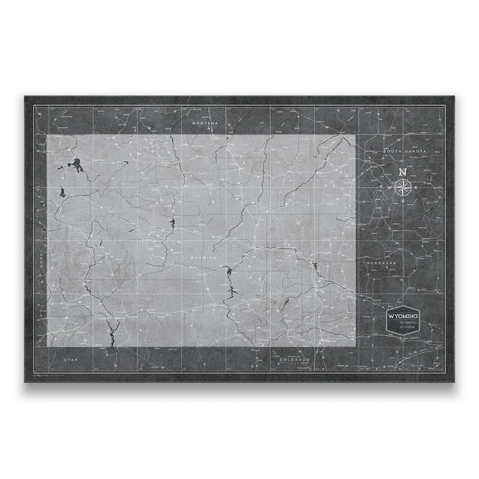 Wyoming Travel Map Pin Board w/Push Pins - Modern Slate