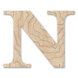 Wood Letters with Laser-Etched Topographic Map N