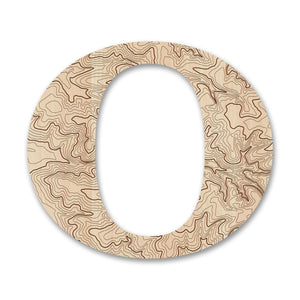 Wood Letters with Laser-Etched Topographic Map O