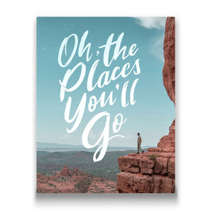 Oh the places you'll go Travel quote Canvas Art Thumbnail