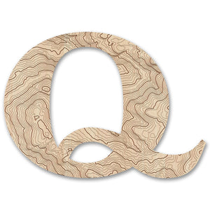 Wood Letters with Laser-Etched Topographic Map Q