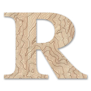 Wood Letters with Laser-Etched Topographic Map R