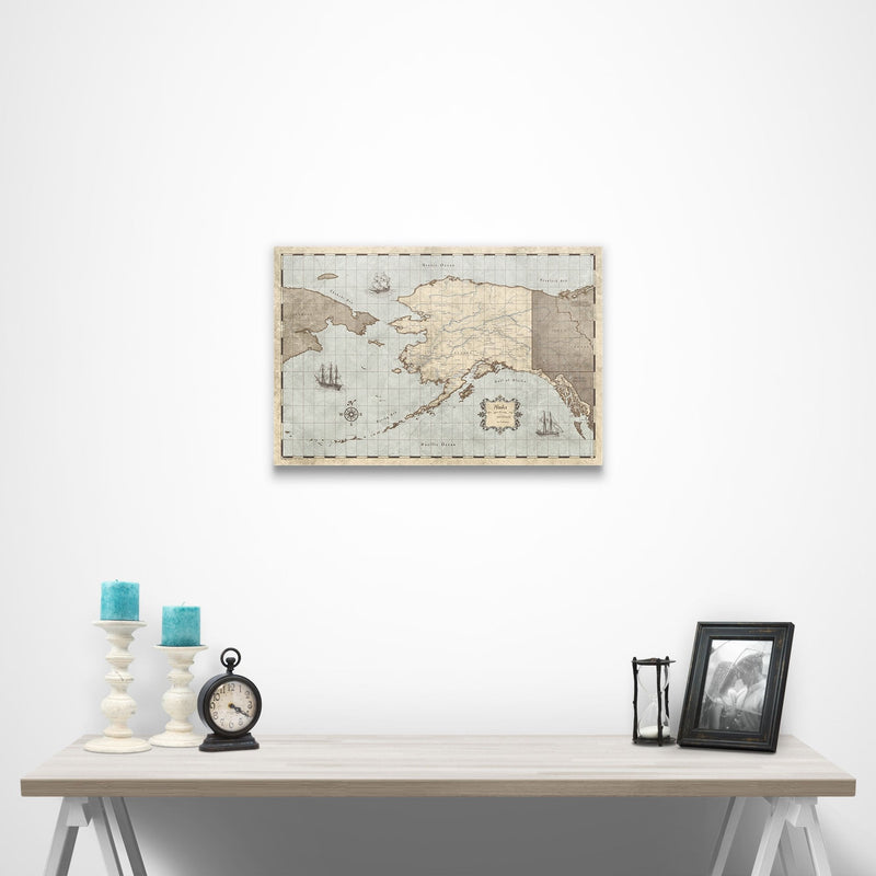 Alaska Travel Map Pin Board with Push Pins: Rustic Vintage