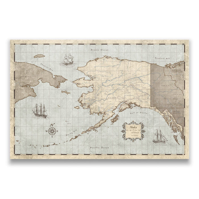Alaska Travel Map Pin Board w/Push Pins - Rustic Vintage