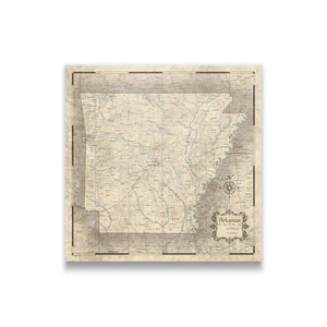 Rustic Vintage Arkansas state map pin board with pushpins