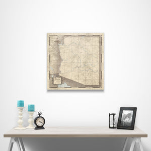Rustic Vintage Arizona state map pin board with pushpins over a table