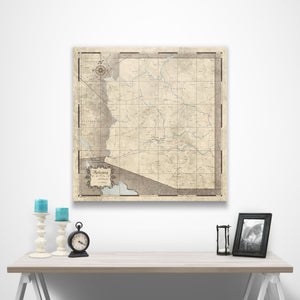 Arizona Travel Map Pin Board w/Push Pins - Rustic Vintage