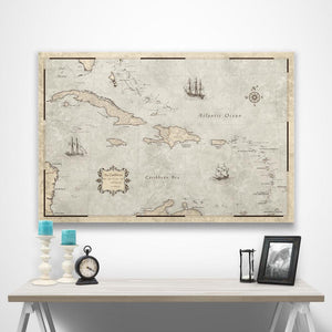Rustic Vintage Caribbean Pin Board Map over a table