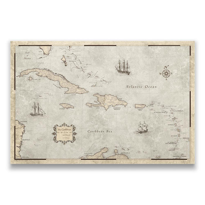 Caribbean Travel Map Pin Board w/Push Pins - Rustic Vintage