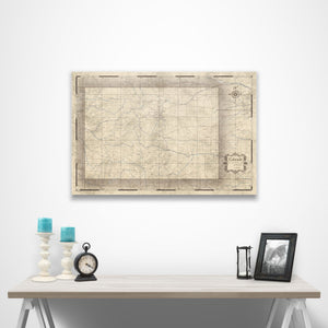 Rustic Vintage Colorado state map pin board with pushpins over a table