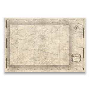 Rustic Vintage Colorado state map pin board with pushpins