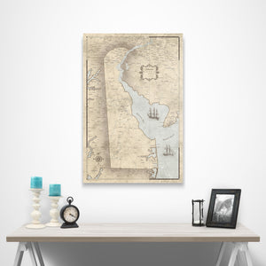 Rustic Vintage Delaware state map pin board with pushpins over a table