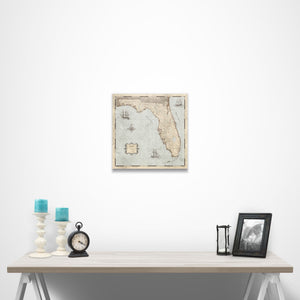 Rustic Vintage Florida state map pin board with pushpins over a table