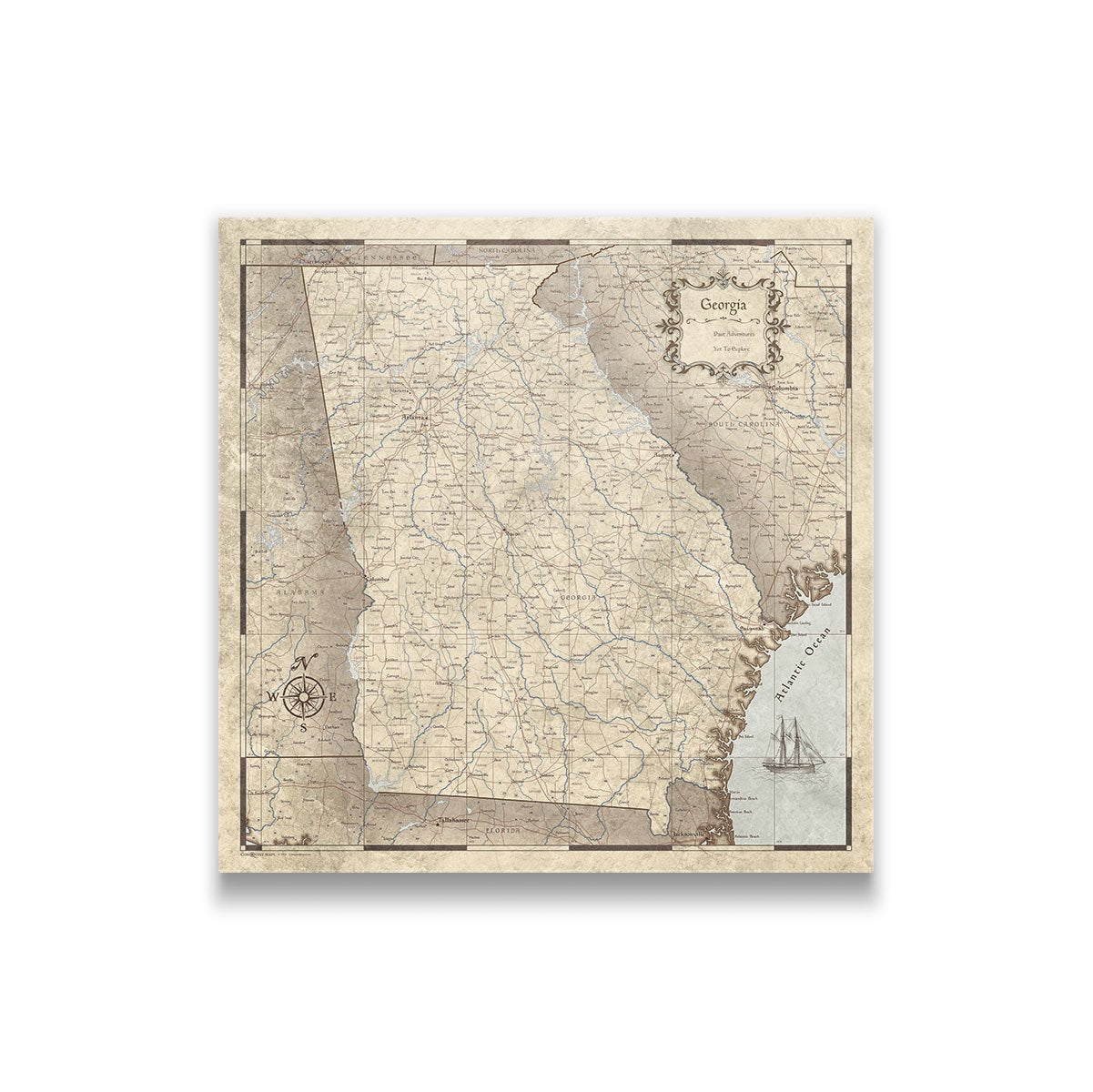 Georgia Travel Map Pin Board With Push Pins Rustic Vintage