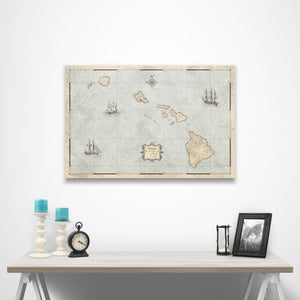 Rustic Vintage Hawaii state map pin board with pushpins over a table
