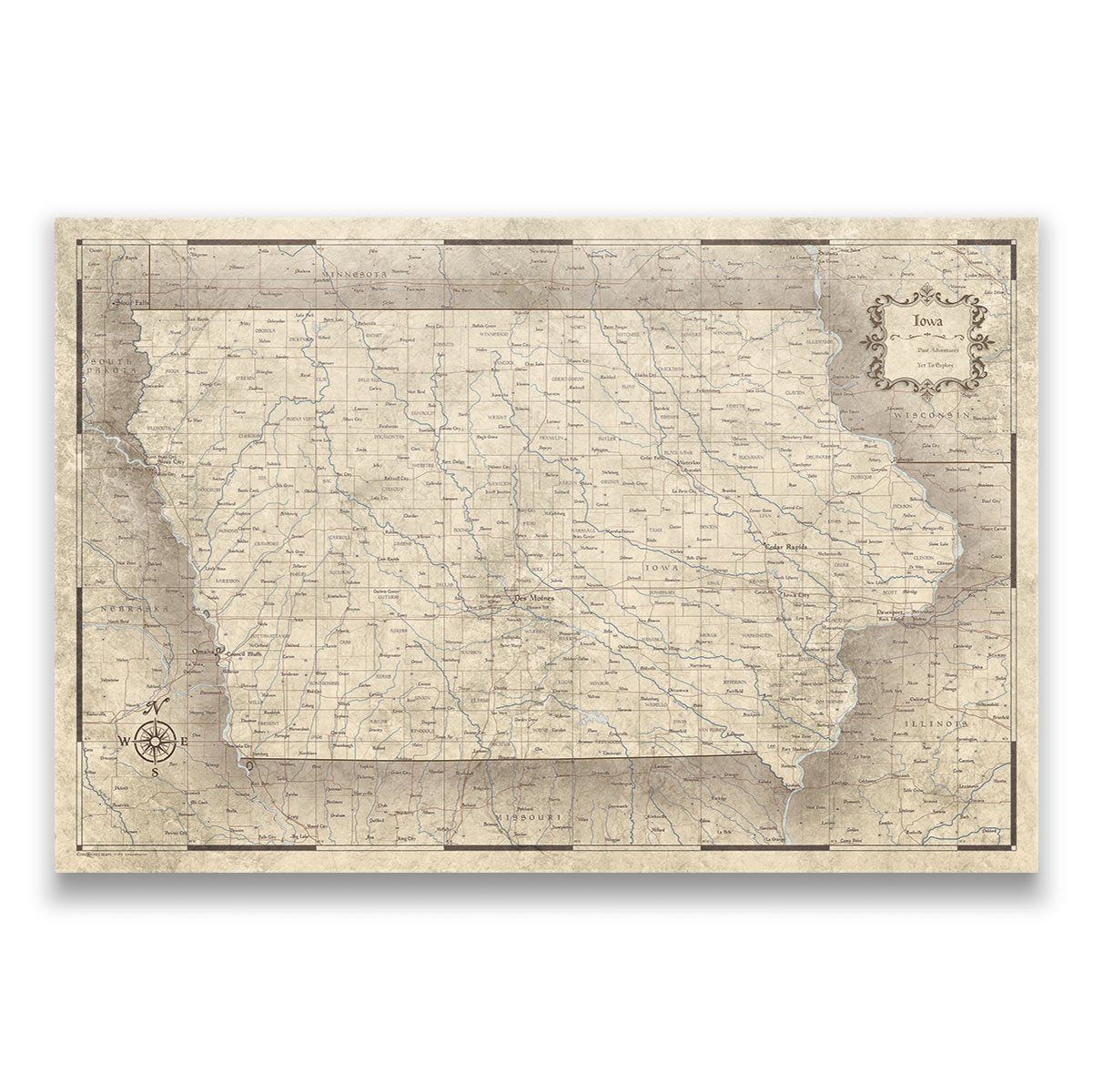 Iowa Travel Map Pin Board With Push Pins Rustic Vintage