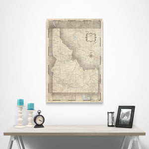 Rustic Vintage Idaho state map pin board with pushpins over a table