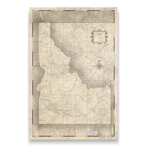 Rustic Vintage Idaho state map pin board with pushpins