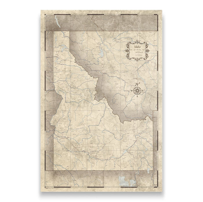 Idaho Travel Map Pin Board w/Push Pins - Rustic Vintage
