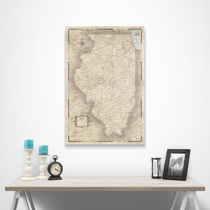 Rustic Vintage Illinois state map pin board with pushpins over a table