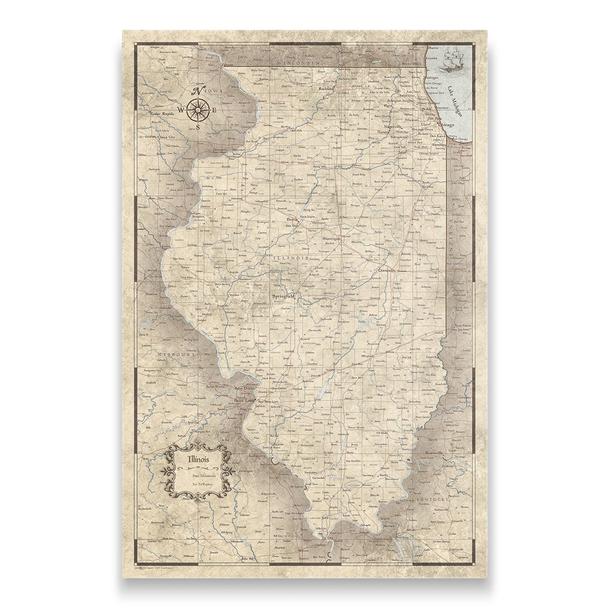 Illinois Travel Map Pin Board with Push Pins: Rustic Vintage