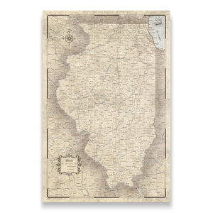 Rustic Vintage Illinois state map pin board with pushpins