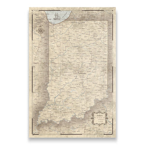 Indiana state map pin board with pushpins
