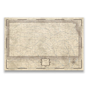 Rustic Vintage Kansas state map pin board with pushpins