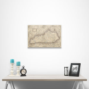 Rustic Vintage Kentucky state map pin board with pushpins over a table
