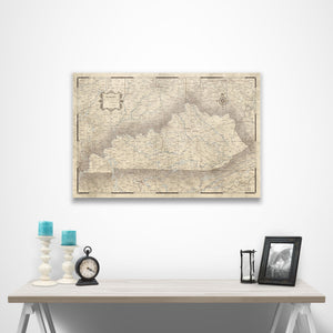 Kentucky state map pin board with pushpins