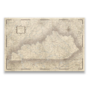 Rustic Vintage Kentucky state map pin board with pushpins
