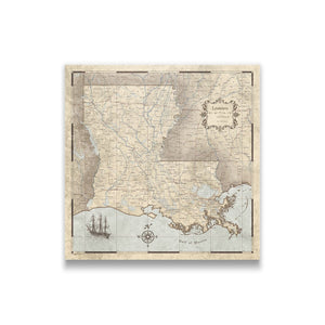 Rustic Vintage Louisiana state map pin board with pushpins