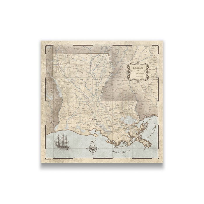 Louisiana Travel Map Pin Board w/Push Pins - Rustic Vintage