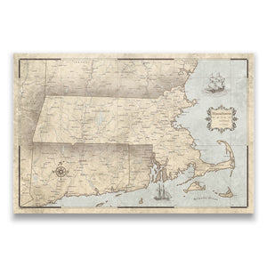 Rustic Vintage Massachusetts state map pin board with pushpins