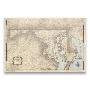 Rustic Vintage Maryland state map pin board with pushpins
