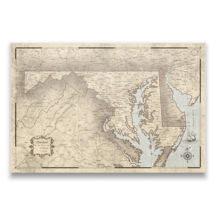 Maryland Travel Map Pin Board w/Push Pins - Rustic Vintage