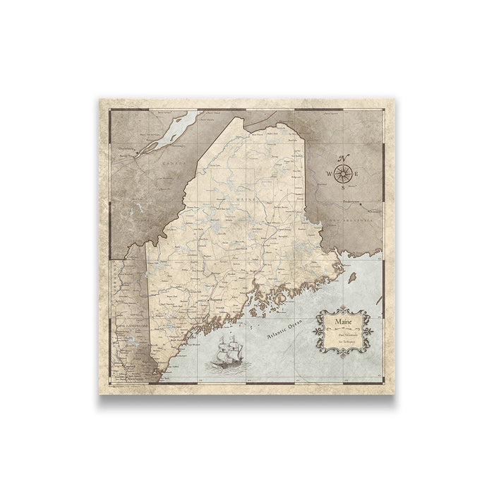 Maine Travel Map Pin Board w/Push Pins - Rustic Vintage