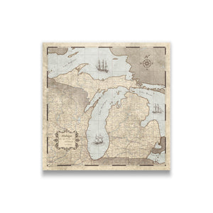Rustic Vintage Michigan state map pin board with pushpins