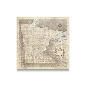 Rustic Vintage Minnesota state map pin board with pushpins