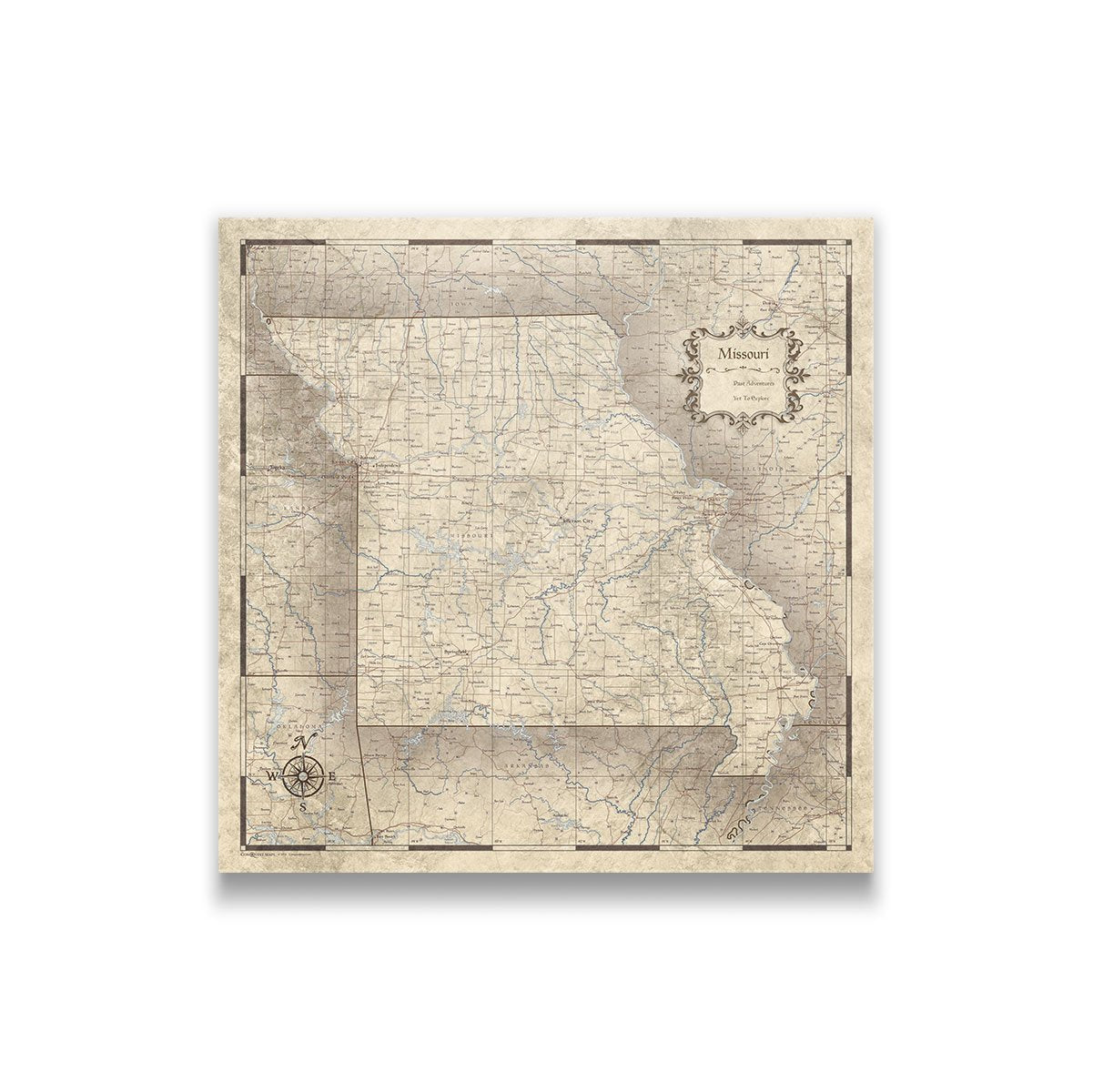 Missouri Travel Map Pin Board with Push Pins: Rustic Vintage