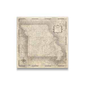 Rustic Vintage Missouri state map pin board with pushpins
