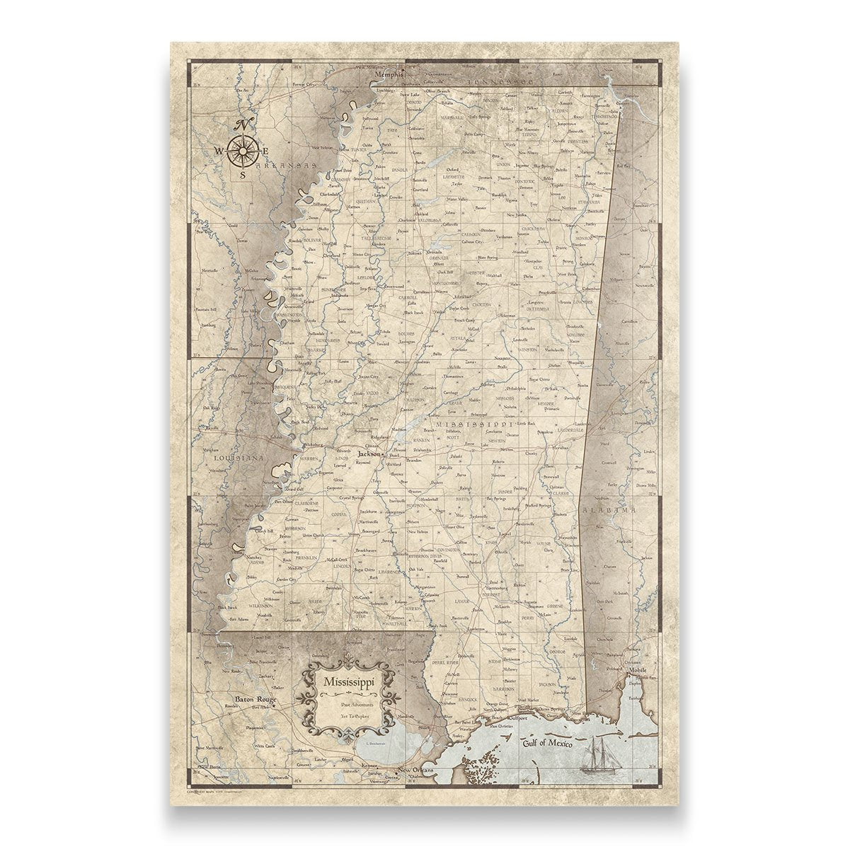Mississippi Travel Map Pin Board With Push Pins Rustic Vintage