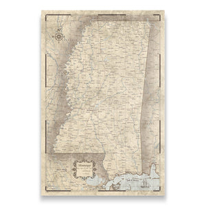 Rustic Vintage Mississippi state map pin board with pushpins